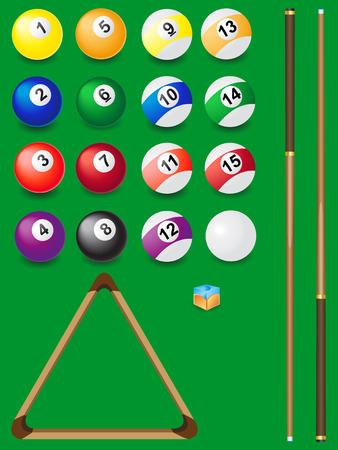 set for billiards illustration Vector