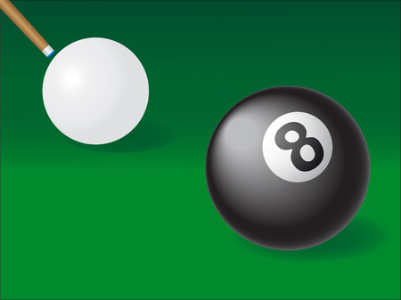 pool hall: white and black ball for billiards illustration