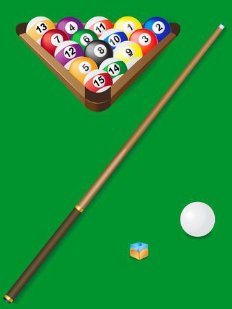 pool halls: set for billiards vector illustration