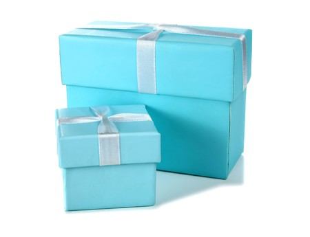 big and little blue box isolated on white background photo