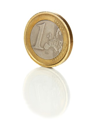 1 euro: shaddy coin 1 euro isolated on white background Stock Photo