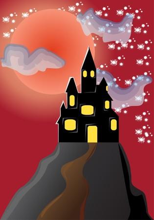 horrific: old dark castle  illustration