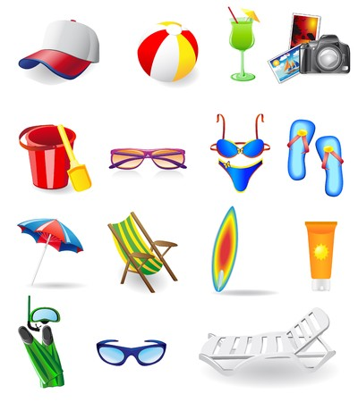 icons set for rest on a sun sea and beach  illustration isolated on white background Stock Illustration - 7351526