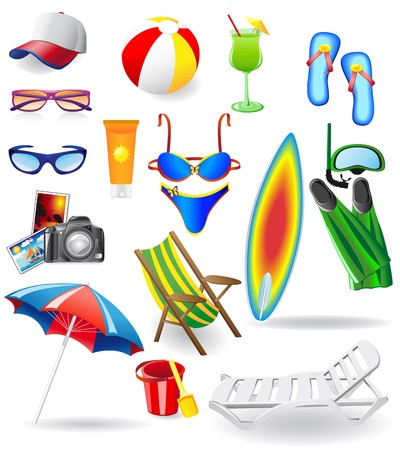 set for rest on a sun sea and beachillustration isolated on white background Stock Photo