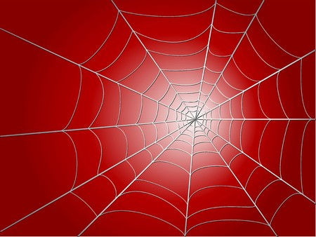 loathsome: spider wed on red background  illustration
