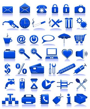 bue: blue icons illustration isolated on white background