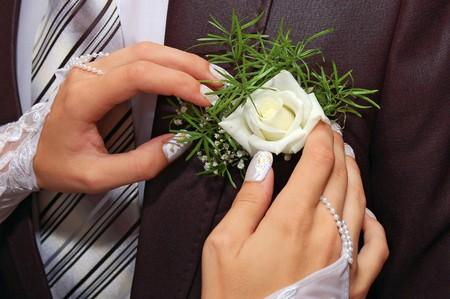 buttonhole: a hands fiancee on the buttonhole of groom