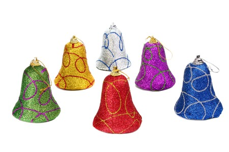 handbell: colors handbell decoration for a new-year tree isolated on white background Stock Photo