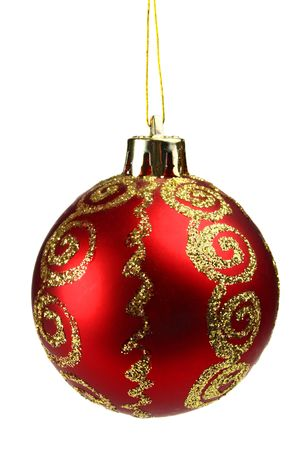hristmas: red ball decoration for a �hristmas tree isolated on white background Stock Photo