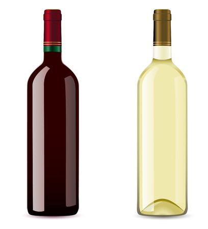 cabernet: bottle with red and white wine  illustration
