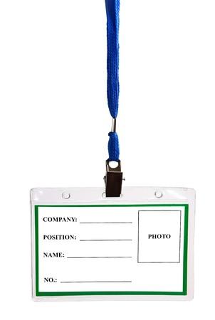 card empty ID badge isolated on white background photo