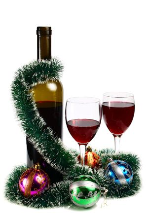 bottle with red wine and decoration for christmas isolated on white background
