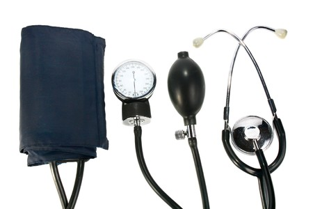 a device reading blood pressure isolated on white background photo