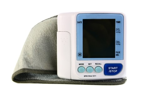 an electronic device reading blood pressure isolated on white background photo