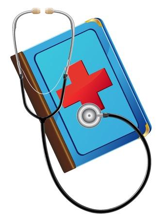 stetoskop: medical book and stetoskop vector illustration Stock Photo