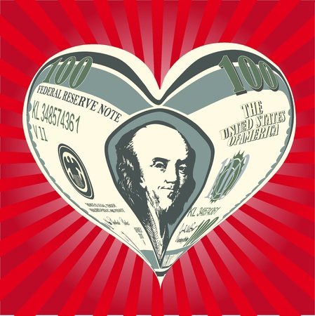 earns: heart from one hundred dollar notes vector illustration Stock Photo