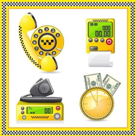 clock radio: icons are symbols of taxi illustration Stock Photo
