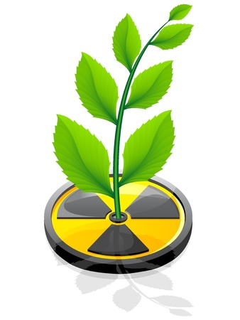 green plant growing from a sign radiation illustration isolated on white background Stock Illustration - 8775854