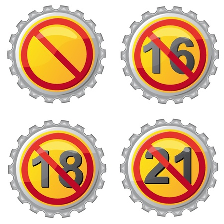 beer lids with prohibition on age illustration isolated on white background illustration