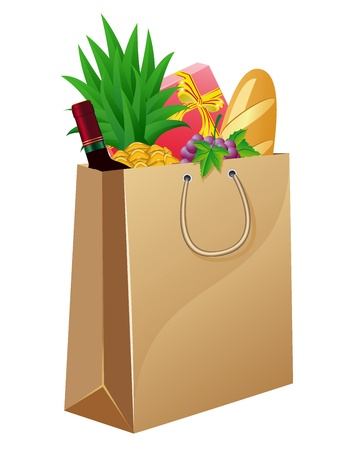 alcohol cardboard: shopping bag with foods vector illustration