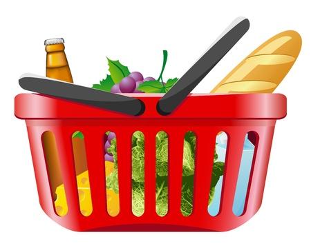 shopping basket with foods vector illustration illustration