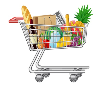 product cart: shopping cart with purchases and foods vector illustration
