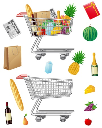shopping champagne: shopping cart with purchases and foods vector illustration