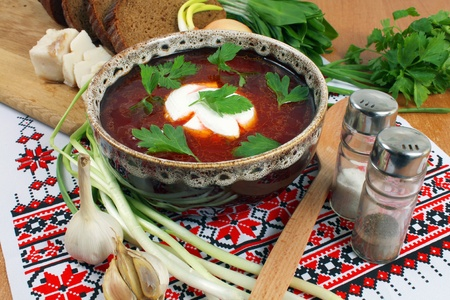 ukrainian borsch of national kitchen