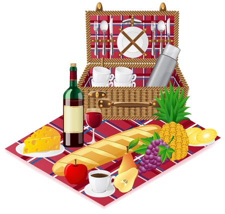 basket for a picnic with tableware and foods vector illustration Stock Illustration - 9507339