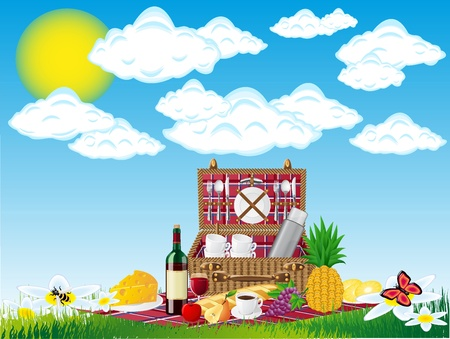 fruits basket: basket for a picnic with tableware and foods on nature vector illustration