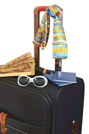 heave: black suitcase trips and accessories for rest isolated on white background