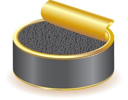 spawn: black caviar illustration isolated on white background Stock Photo