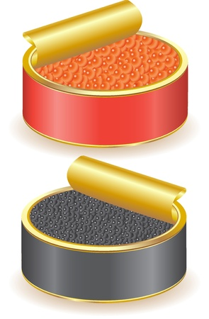 spawn: red and black caviar illustration isolated on white background