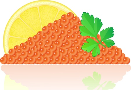 caviar: red caviar with lemon and parsley illustration