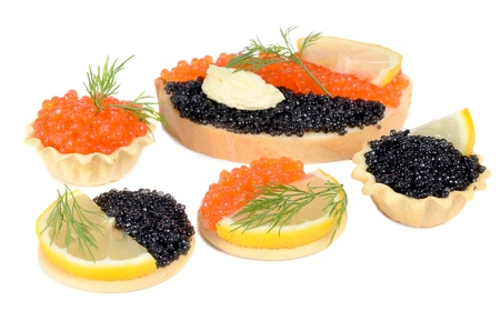 sandwich with black and red caviar isolated on white background Stock Photo - 10503749