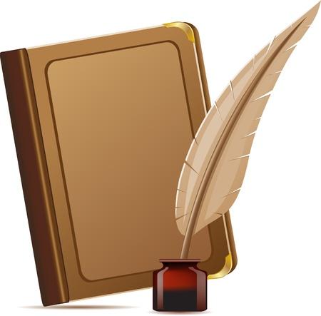 libro y la pluma con la ilustraci�n vectorial tintas