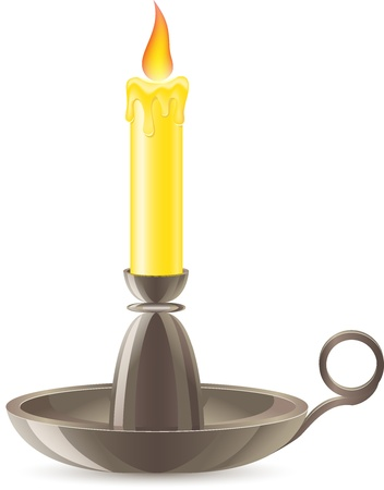 candlestick: conflagrant candle is in a candlestick vector illustration