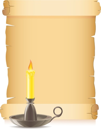 conflagrant: old paper and conflagrant candle in a candlestick vector illustration