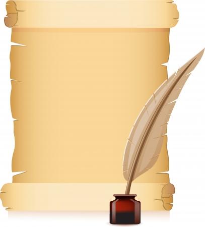 papel viejo y plumas con ilustraci�n vectorial de tintas