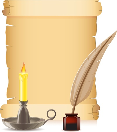 old paper conflagrant candle and feather with inks vector illustration illustration