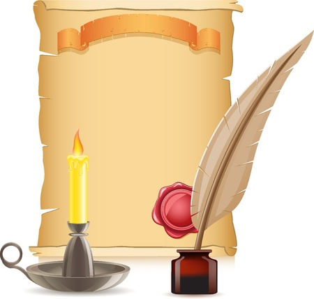 vellum: old paper conflagrant candle and feather with inks vector illustration