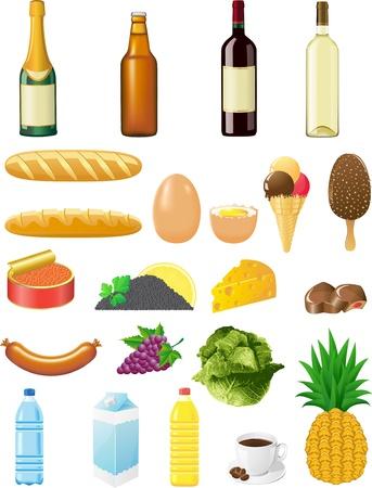 set icons of foods illustration isolated on white background illustration