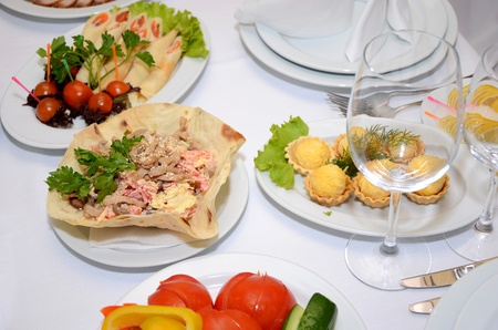 served table with a food photo