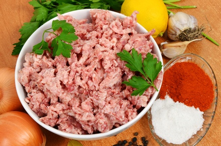 forcemeat: forcemeat with spices on a table