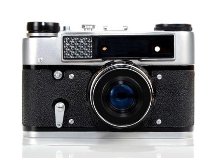 old retro photo camera isolated on white background