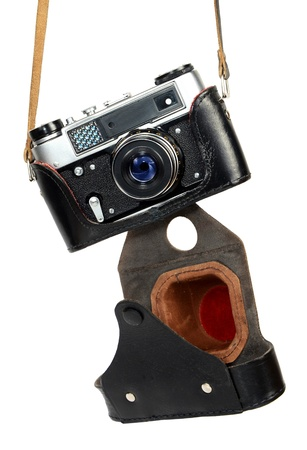 old retro photo camera isolated on white background photo