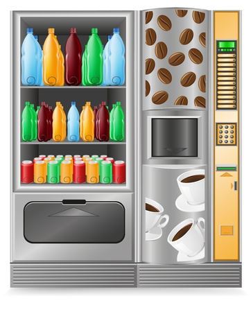 nonalcoholic: vending coffee and water is a machine vector illustration