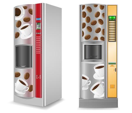 expendedoras de caf� es una ilustraci�n vectorial de la m�quina aislada sobre fondo blanco