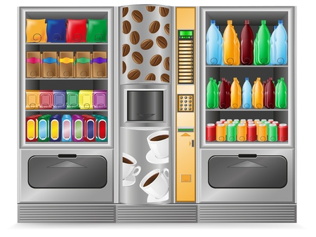 vending: vending coffee snack and water is a machine vector illustration