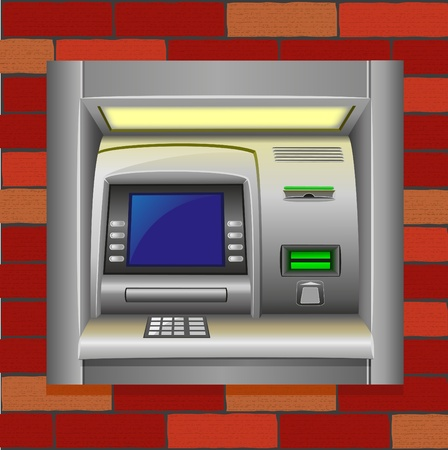 bankomat: atm on a brick wall vector illustration